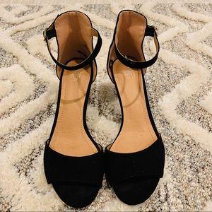 H&M Black Suede Faux Open Toe Heels